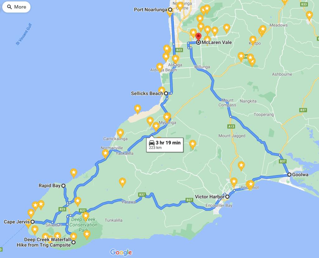 Map Fleurieu Peninsula - Points of Interest - South Australia Road Trips