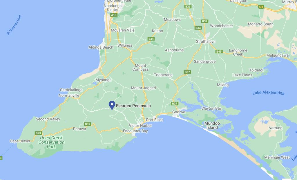 Map Fleurieu Peninsula - South Australia Road Trips